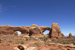 North and South Windows formation in  Arches National Park Royalty Free Stock Photos