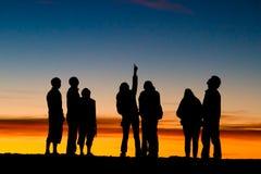 North Star. Haleakala sunset. Group of tourists watching the stars at the top of Haleakala volcano during sunset, Maui, Hawaii Royalty Free Stock Image