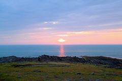 North sunset. Landscape with coast of the Barents Sea Royalty Free Stock Photos