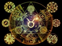 North of Symbolic Meaning. Astral Connection series. Backdrop of Zodiac and fractal geometry symbols to complement your design on the subject of magic, sacred royalty free illustration