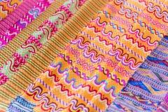 North Thai beautiful fabric silk textile pattern texture stock photo