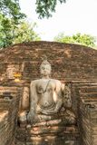 Buddha in an ancient temple stock photography