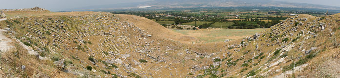 The north theatre in Laodikeia. The panorama of the poorly preserved north theatre in in archaic Laodikeia city at the Denizli Province, Turkey Royalty Free Stock Images