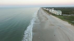 North Topsail Island aerial view of the Beach and Ocean stock video
