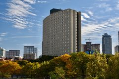 North Tower. This is a Fall picture of the North Tower of the Hilliard Tower complex, under a blue sky filled with Cirrus Clouds and surrounded by Fall foliage Royalty Free Stock Photography
