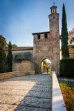North tower of medieval village in Cordovado Stock Photo