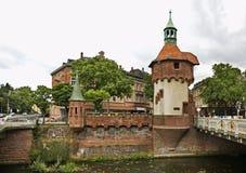 North Tower of Schwabentorbrucke bridge in Freiburg im Breisgau. Germany Royalty Free Stock Photo