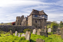 The North Tower, Stokesay Castle, Shropshire, England. With a wooden over hanging structure, Stokesay Castles North Tower has magnificent views of the local Royalty Free Stock Image