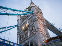 North tower of the Tower Bridge, London, as seen from the river below Royalty Free Stock Images