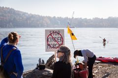 NORTH VANCOUVER, BC, CANADA - OCT 28, 2017: Protester at Cates Park rallying against the Kinder Morgan pipeline on royalty free stock photography