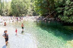 30 Foot Pool in Lynn Canyon Park, Canada. North Vancouver, Canada - Aug. 15, 2017: Visitors cooling off at the 30 Foot Pool in Lynn Canyon Park in North Royalty Free Stock Photos