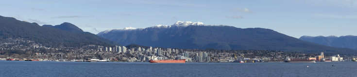 North Vancouver over the Vancouver bay. Royalty Free Stock Photography
