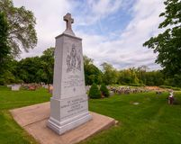 North Versailles, Pennsylvania, USA 05/18/2019 The monument at the St Nicholas Serbian Orthodox section cemetery. On a spring day stock photo