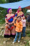 North Vietnamese women in colorful native clothing with children Royalty Free Stock Photography