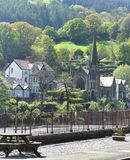 North Wales, Llangollen.  A bight spring day.  River Dee.  Wooded hillsides. North Wales the historic town Llangollen.  A bight spring day.  The hillsides and stock photo