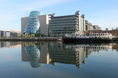 North Wall Quay Reflections CVC. View across the Liffey river to North Wall Quay Stock Photo