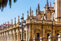 The north wall of the Seville Cathedral. The north wall of the Cathedral of Saint Mary of the See (Seville Cathedral) in Seville, Andalusia, Spain royalty free stock image