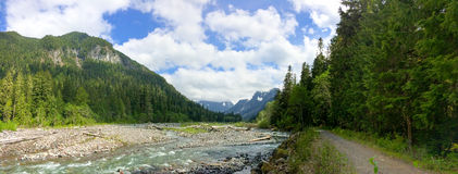 North West Hiking Trail by River Panoramic Stock Photo