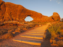 North Window Arch Sunset Steps Stock Photos