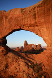 North Window Framing Turret Arch Stock Photos