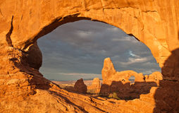 North Window and Turret Arches. At sunrise royalty free stock photos
