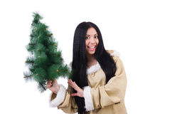 North woman with christmas tree isolated Stock Photo