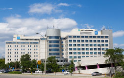 North York General Hospital. TORONTO, CANADA - 10TH JULY 2014: The outside of North York General Hospital during the day stock photos