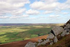 North Yorkshire Moors. A view from Simons Seat north of Bolton Abbey, North Yorkshire. UK Royalty Free Stock Photos