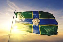 North Yorkshire-Noord- Berijdende provincie van stof die van de de vlag de textieldoek van Engeland op de hoogste mist van de zon stock illustratie
