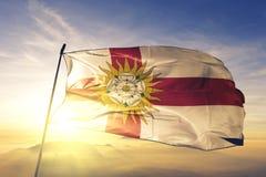 North Yorkshire-West- Berijdende provincie van stof die van de de vlag de textieldoek van Engeland op de hoogste mist van de zons royalty-vrije illustratie