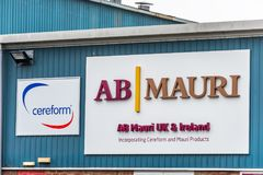 Northampton 11 de janeiro de 2018 BRITÂNICO: AB Mauri Bakery Ingredients Supplier e exterior do sinal do logotipo de Cereform imagem de stock royalty free