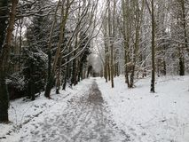 Northampton Footpath. Snowy Day in South Northampton Stock Photos