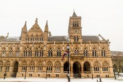 Northampton Guildhall Neo Gothic Building on Cloudy Winter Snowy Day royalty free stock image
