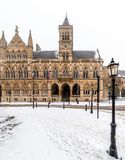 Northampton Guildhall Neo Gothic Building on Cloudy Winter Snowy Day stock image