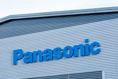 Northampton het UK 09 December, 2017: Panasonic-het embleemteken van de Logistiekdistributie in het Industriële Landgoed van Brac Royalty-vrije Stock Foto's