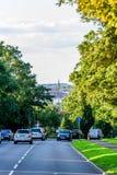 Northampton Regno Unito - 15 agosto 2017: Vista nuvolosa di paesaggio urbano di giorno di Northampton Regno Unito con la strada i Fotografia Stock