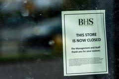 Northampton, Regno Unito - 26 ottobre 2017: Vista del deposito di BHS che chiude avviso in Nene Valley Retail Park Fotografie Stock