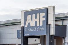Northampton, Regno Unito - 26 ottobre 2017: Vista di una mobilia e dei tappeti di AHF in Nene Valley Retail Park Immagine Stock