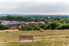 Northampton Town cityscape skyline with bench inforeground united kingdom.  royalty free stock image