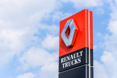 Northampton, UK - Apr 21, 2018:: Day view official Renault Trucks dealership sign over blue sky. Renault is a French. Multinational automotive manufacturer Stock Image