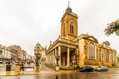 Northampton, UK - Aug 08, 2017: Cloudy rainy day view of All Saints Church in Northampton Town Centre Royalty Free Stock Photography