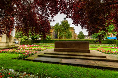 Northampton, UK - Aug 09, 2017: Cloudy rainy day view of Northampton War Memorial in Town Centre.  Royalty Free Stock Image