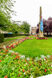 Northampton, UK - Aug 09, 2017: Cloudy rainy day view of Northampton War Memorial in Town Centre.  Royalty Free Stock Images