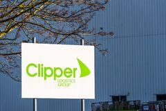 Northampton UK December 09, 2017: Clipper Distribution logo sign in Brackmills Industrial Estate Stock Images