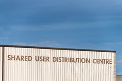 Northampton UK December 09, 2017: Shared User Distribution Centre logo sign in Brackmills Industrial Estate Royalty Free Stock Images