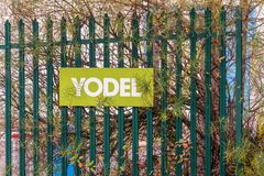 Northampton UK December 07, 2017: Yodel delivery Service logo sign in Brackmills Industrial Estate Royalty Free Stock Photo