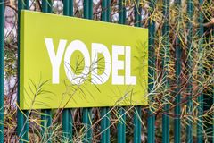 Northampton UK December 07, 2017: Yodel delivery Service logo sign in Brackmills Industrial Estate Stock Photo