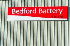 Northampton UK Januari 10 2018: Bedford Battery logotecken på lagerväggyttersida Arkivfoton