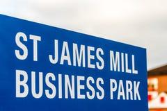 Northampton UK Januari 05 2018: Logotecken för St James Mill Business Park Arkivbilder