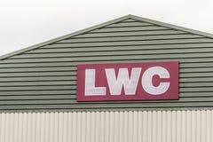 Northampton UK Januari 05, 2018: LWC-logotecken på lagerväggen Fotografering för Bildbyråer